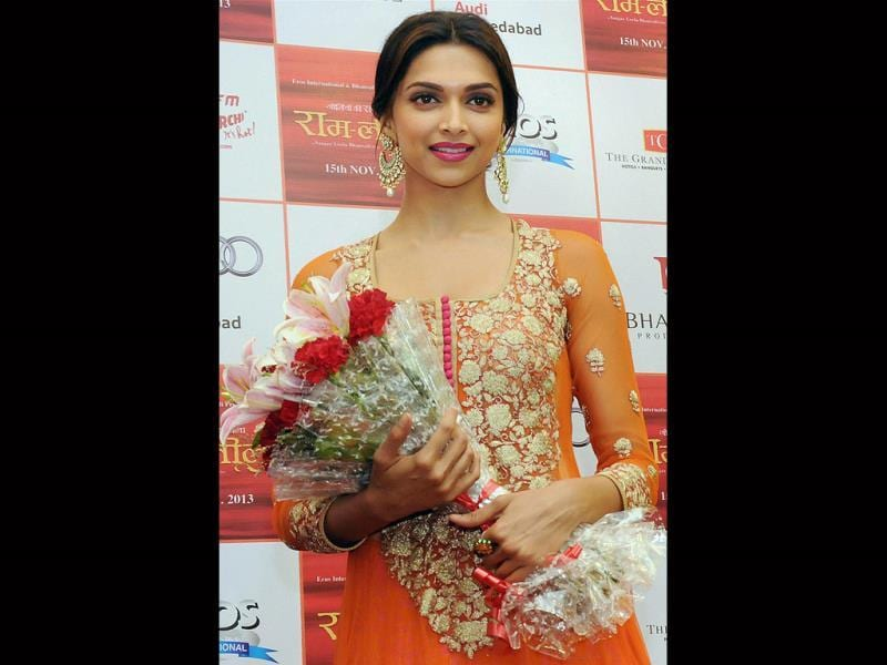 Bollywood actress Deepika Padukone, during the promotion of her upcoming film in Ahmedabad on Wednesday late night. (PTI Photo)