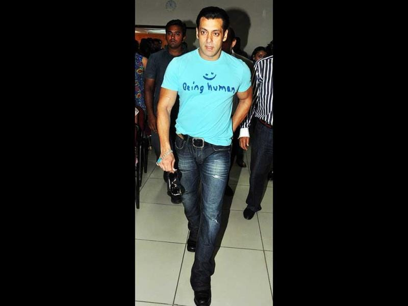 Salman Khan arrives in his famous Being Human t-shirt. (AFP Photo)