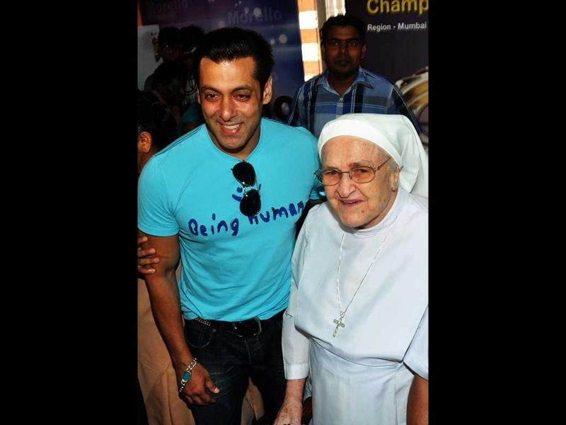 Superstar Salman Khan, as we know, has been involved in social work in his own little ways. The actor yet again was spotted during the anniversary celebration of Cochlear Implants Facility for Underprivileged Children at the Holy Family Hospital in Mumbai. (AFP Photo)