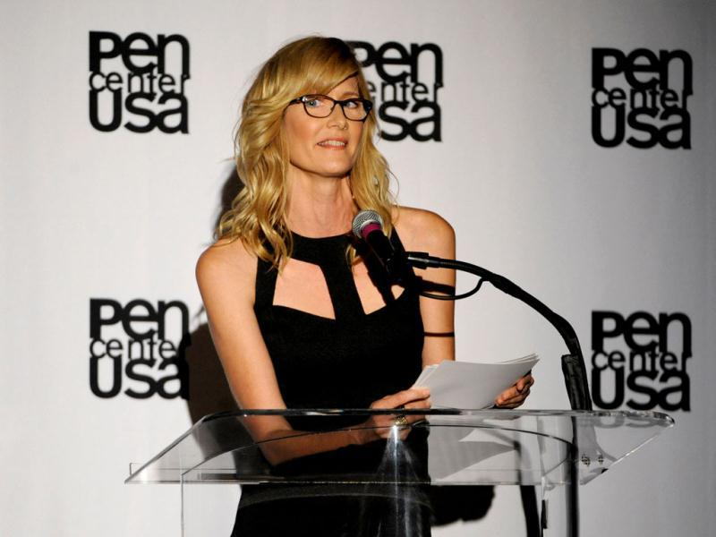 Laura Dern speaks on stage at the 23rd Annual Literary Awards at The Beverly Hills Hotel in Beverly Hills, California. (AP Photo)