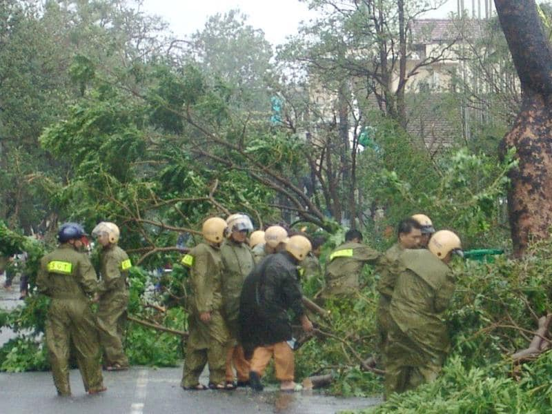 Traffic police remove fallen trees on a street following the passage of Typhoon Nari in the central coastal city of Da Nang. AFP PHOTO