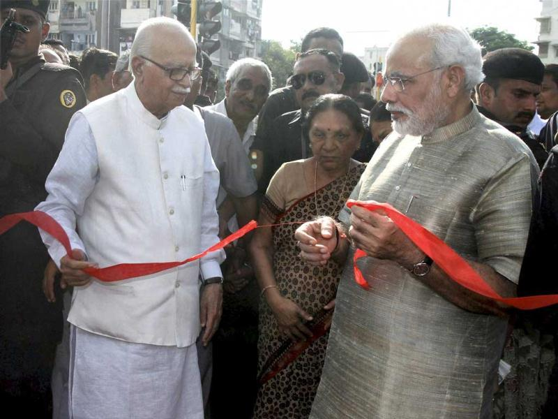 Senior BJP leader LK Advani and Narendra Modi were seen together for the first time after 2011. The equation between the two leaders was rather bitter after Modi was anointed as the party's PM candidate.