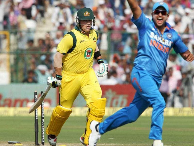 Aaron Finch run out by Suresh Raina during their 2nd ODI match against India at Sawai Man Singh Stadium in Jaipur. (PTI Photo)