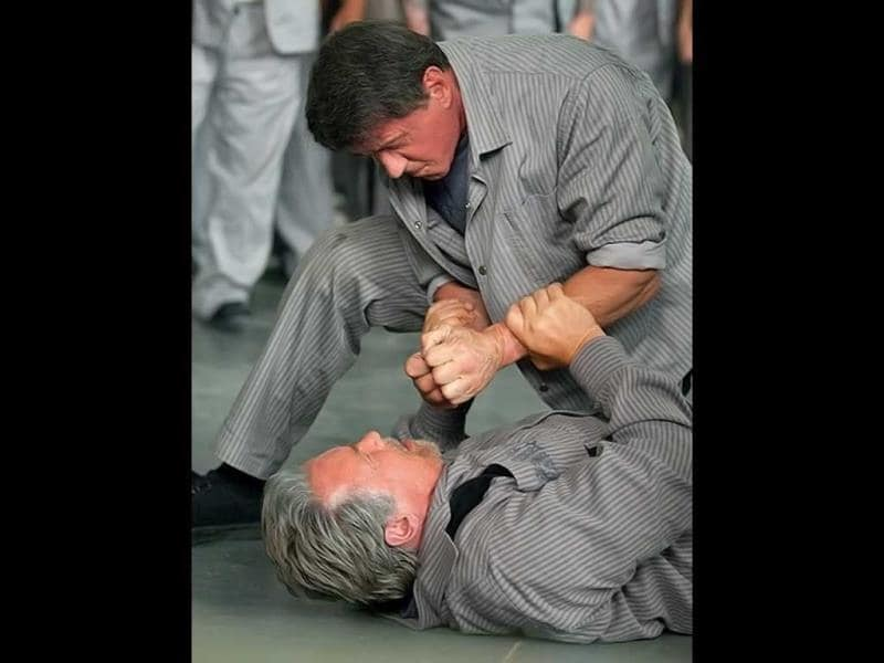 Schwarzenegger and Stallone fight it out.