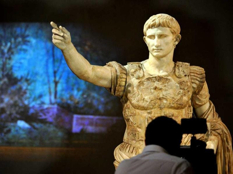 A sculpture at the exhibition, 'Augustus' (Augusto) at the Scuderie del Quirinale in Rome. (AFP Photo)