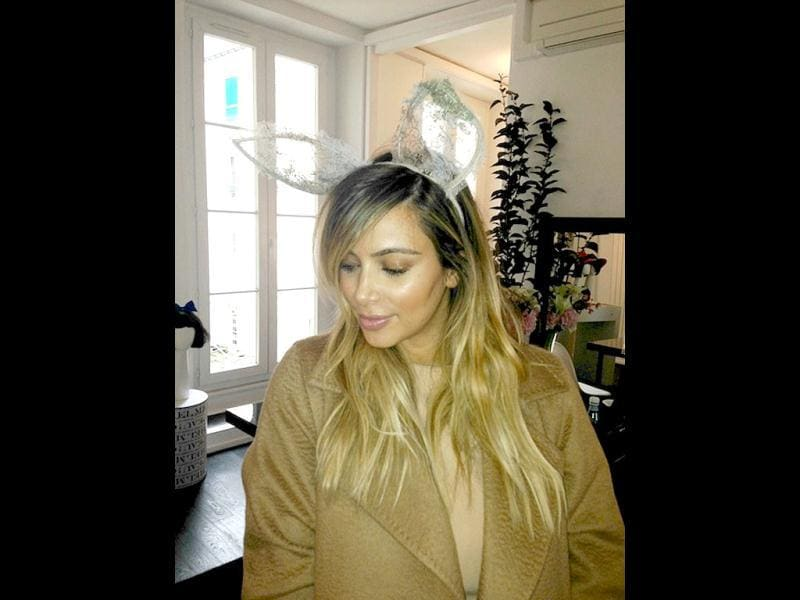 Kim tweets a picture of herself with lacy bunny ears. Aww?