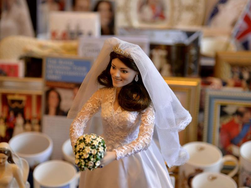 A doll depicting Britain's Catherine, Duchess of Cambridge in her wedding dress, seen in Margaret Tyler's house. (Reuters Photo)