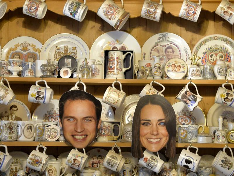 A kitchen dresser covered in commemorative crockery and facemasks of the Britain's Prince William and his wife Catherine, in Margaret Tyler's house. (Reuters Photo)