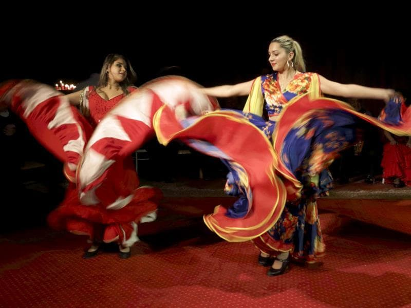 Dancers perform at the Gypsy 'Romanes' circus, founded by Alexandre Romanes, during a dress rehearsal in Paris. (Reuters Photo)