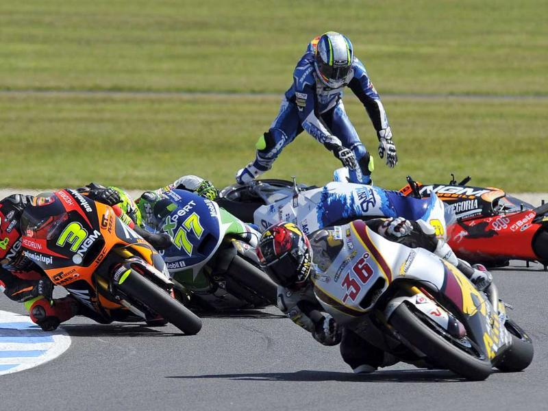 Moto2 rider Julian Simon of Spain during the Australian Motorcycle Grand Prix in Phillip Island. (AP Photo)