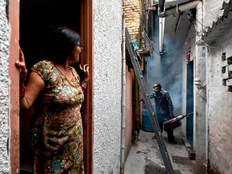 A woman watches as a municipal health worker fumigates against mosquitoes at a neighborhood in New Delhi. (AFP Photo)