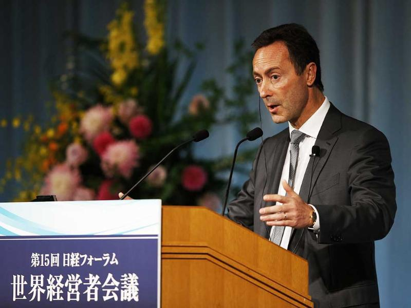 Airbus president and CEO Fabrice Bregier delivers a speech at the Global Management Forum in Tokyo. (Reuters Photo)