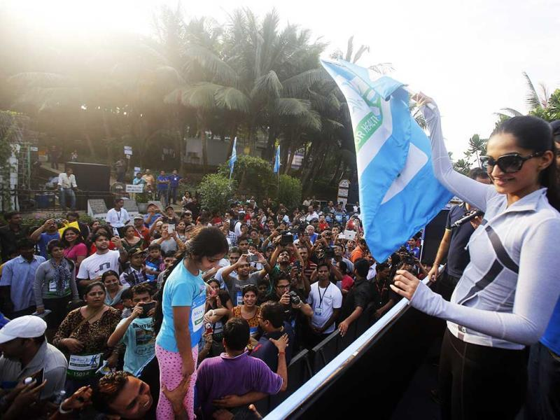 Sonam Kapoor, second right, flags off the event and encourages people to walk more. (AP Photo)