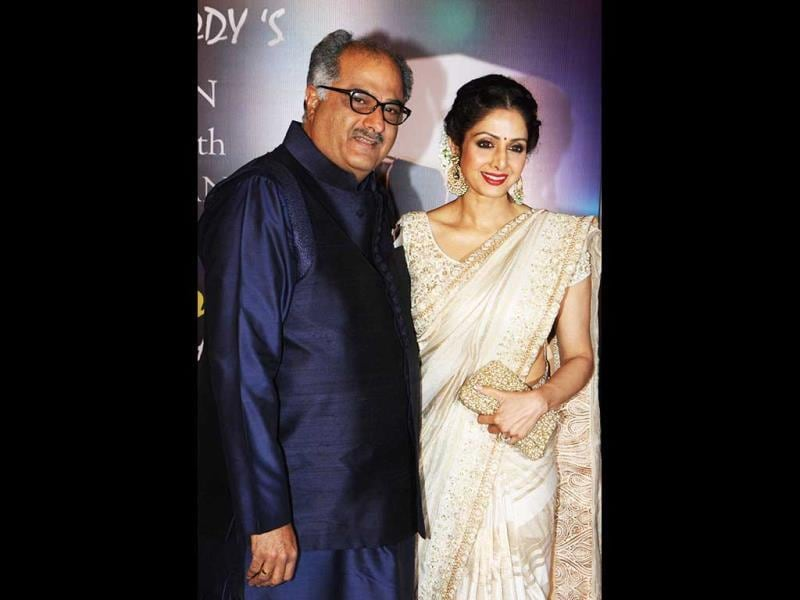 Actress Sridevi with husband and director Boney Kapoor, at the first Yash Chopra Memorial Awards in Mumbai. (AFP Photo)