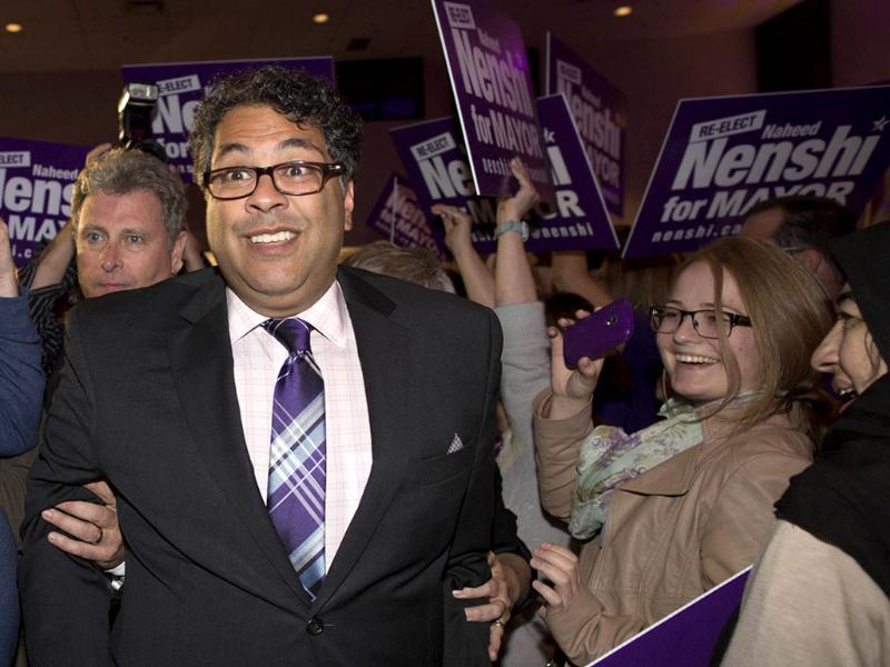 Naheed Nenshi arrives for his speech to supporters after he was elected Calgary mayor for a second term in Calgary, Alberta. (Reuters Photo)