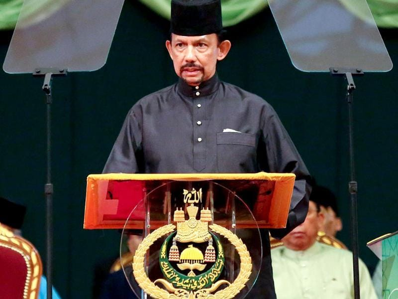 Brunei Sultan Hassanal Bolkiah delivers his speech during the official opening of the Majlis Ilmu 2013 in Bandar Seri Begawan. (AFP Photo)