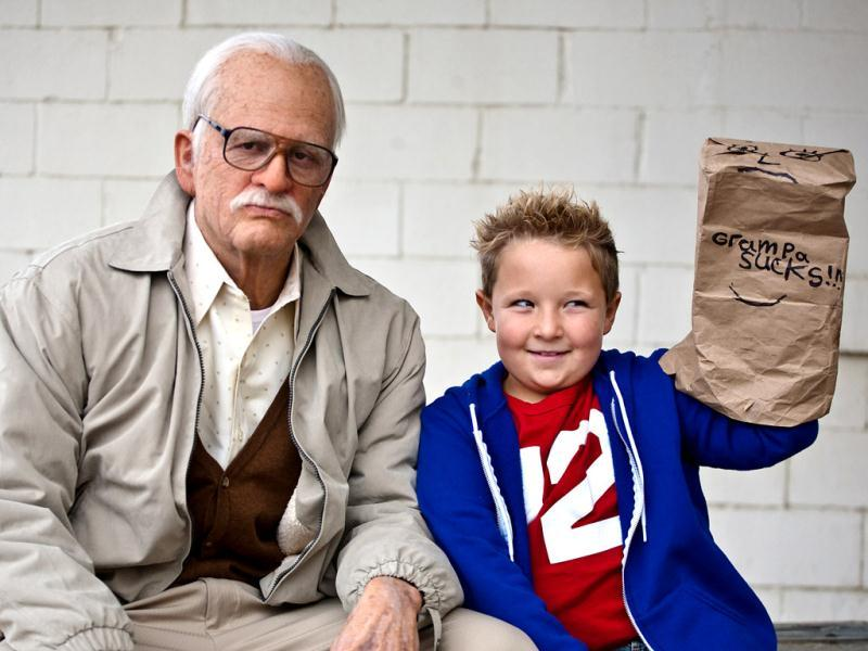 This photo released by Paramount Pictures shows Johnny Knoxville (L) as Irving Zisman and Jackson Nicoll as Billy in Jackass Presents: Bad Grandpa, from Paramount Pictures and MTV Films. (AP Photo)
