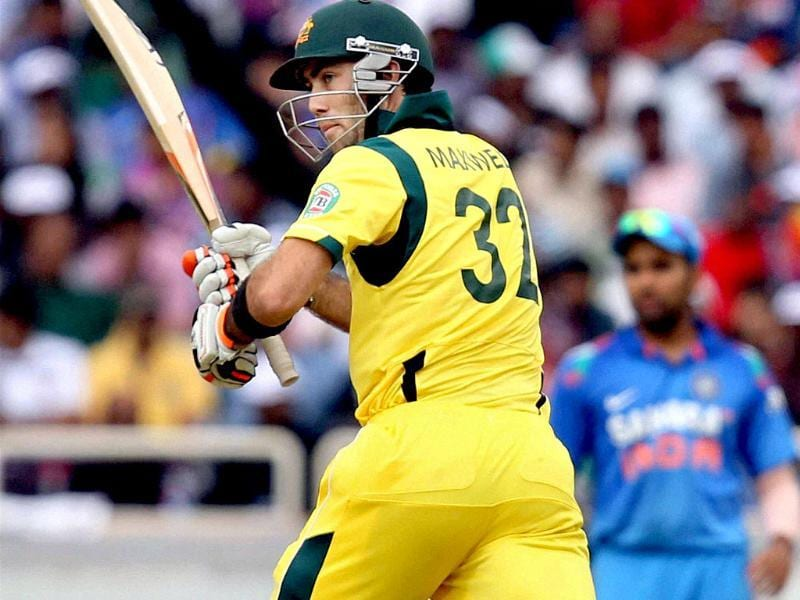 Australia's GJ Maxwell plays a shot against India during the 4th ODI match in Ranchi. (PTI photo)