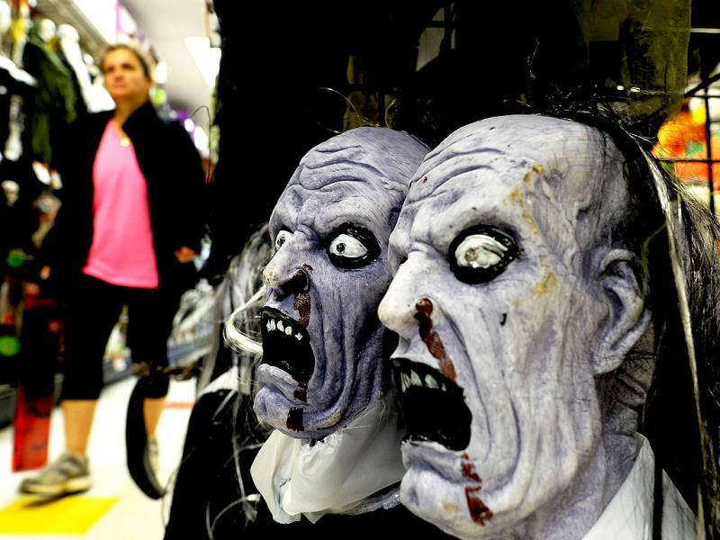 A woman shops for Halloween decorations at a store in Rockville, Maryland. (AFP Photo)