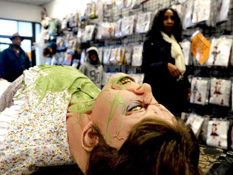 People shop for Halloween decorations at a store in Rockville, Maryland. (AFP Photo)