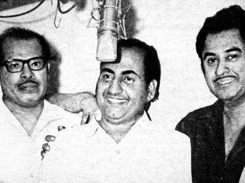 Manna Dey with singer Mohammed Rafi and actor-singer Kishore Kumar in a file photo. Manna Dey began his playback singing career in 1943 with a duet with Suraiya for the film, Tamanna.