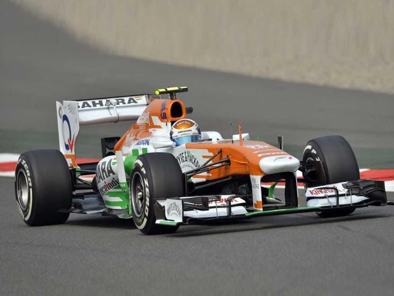 Force India driver Paul Di Resta of Britain drives his car during the first practice session at The Buddh International circuit in Greater Noida ahead of the Formula One Indian Grand Prix 2013. (AFP Photo)