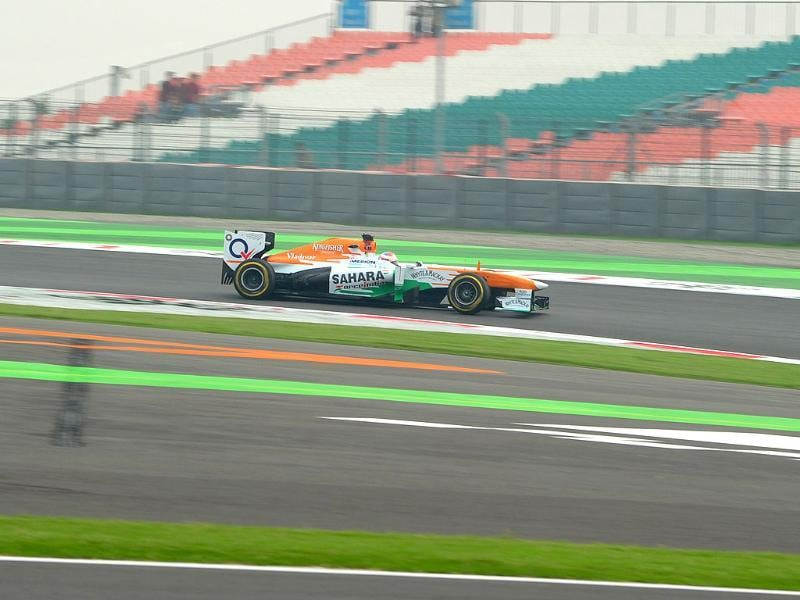 F1 driver Paul Di Resta of Sahara Force India F1 Team in action during the practice session at the Buddh International circuit in Greater Noida.(Vipin Kumar/HT photo)
