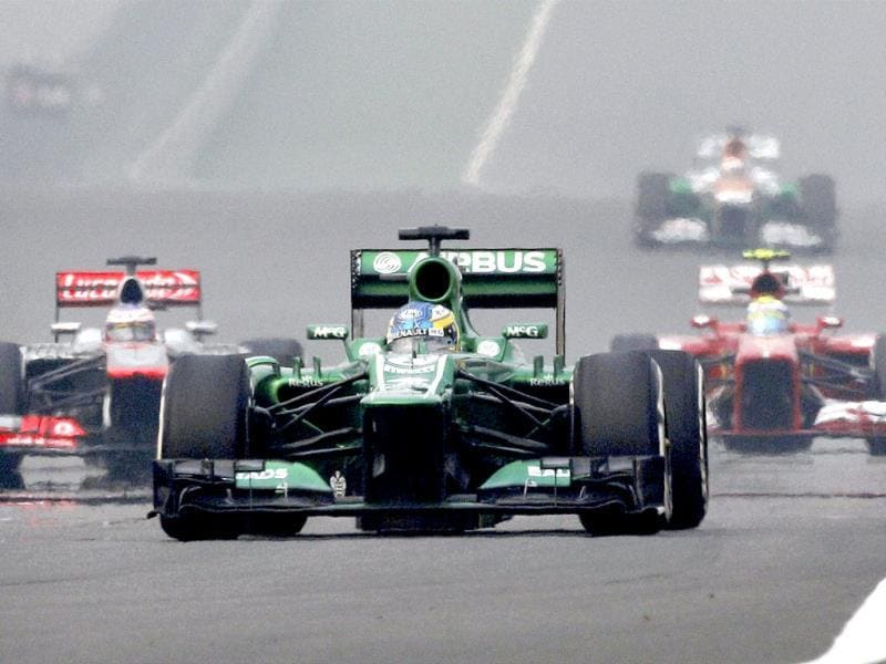 Formula One driver Charles Pic of Caterham leads during the first practice session of 2013 FIA Formula One World Championship Indian Grand Prix at the Buddh International circuit in Greater Noida. (PTI Photo)