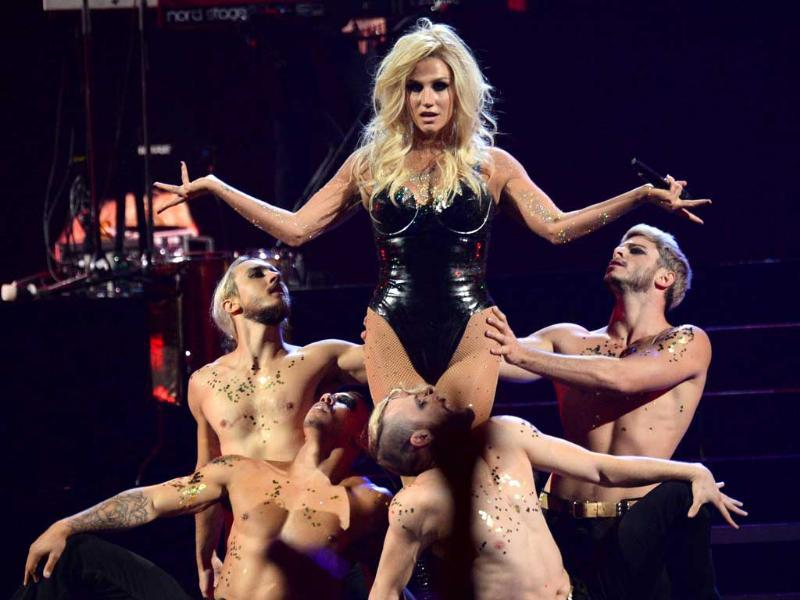 US pop singer Kesha performs at the IHeartRadio Music Festival, in Las Vegas. (AP Photo)