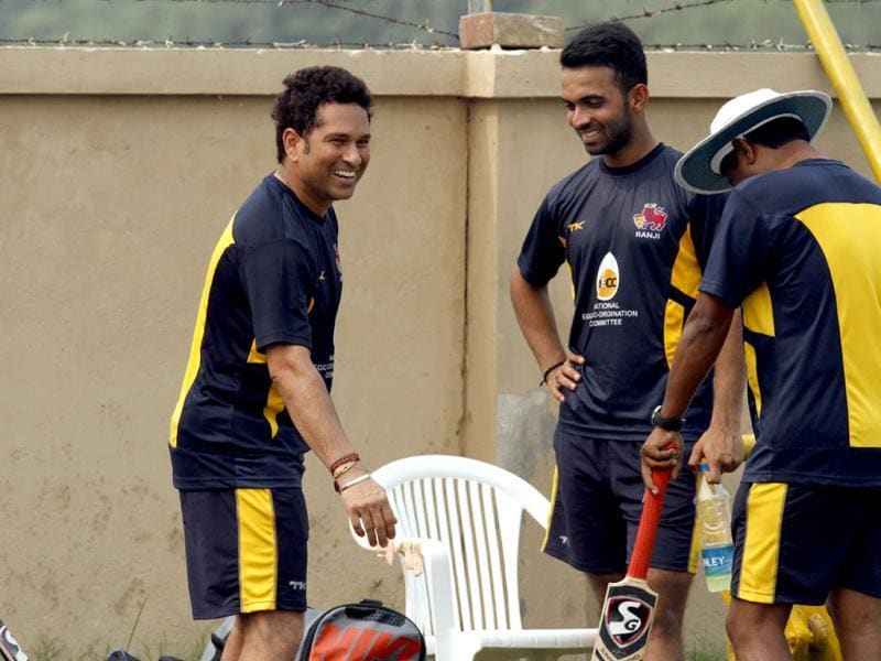 Mumbai Ranji team player Sachin Tendulkar with Ajinkya Rahane during the practice session at Bansi Lal Cricket Stadium in Lahli, Rohtak, in Haryana.(HT Photo/Sanjeev Verma)