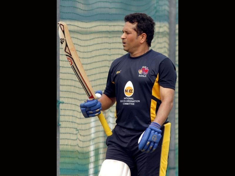 Mumbai Ranji team player Sachin Tendulkar during the practice session at Bansi Lal Cricket Stadium in Lahli, Rohtak, in Haryana. (HT Photo/Sanjeev Verma)