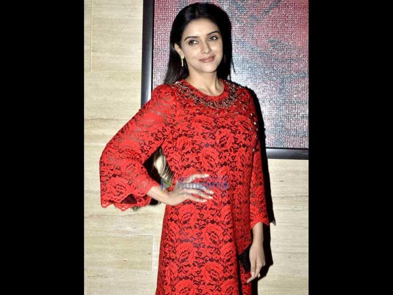 Birthday girl Asin makes a statement in red.