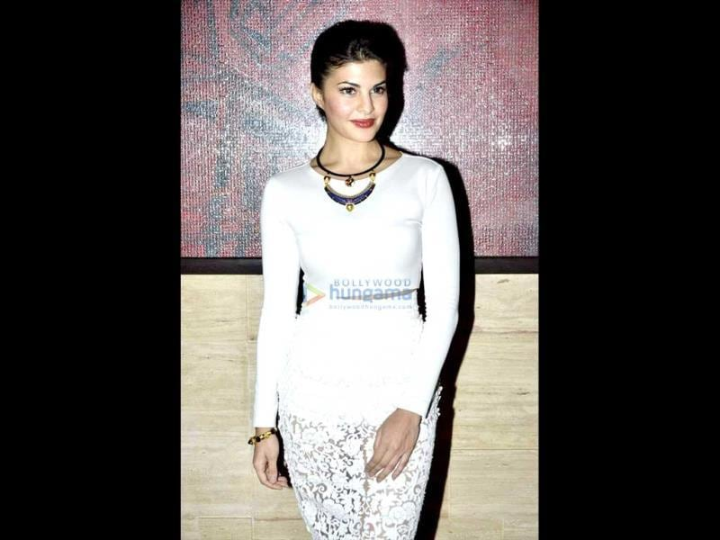 Jacqueline Fernandez looks pretty in white at Asin's birthday bash.