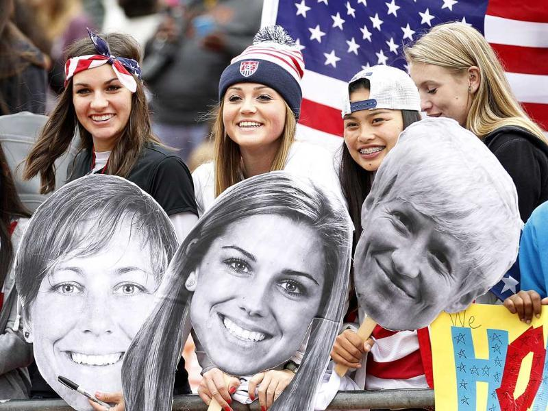 US fans wait for Women's National Team players at an international friendly soccer match against New Zealand in San Francisco. (AP Photo)