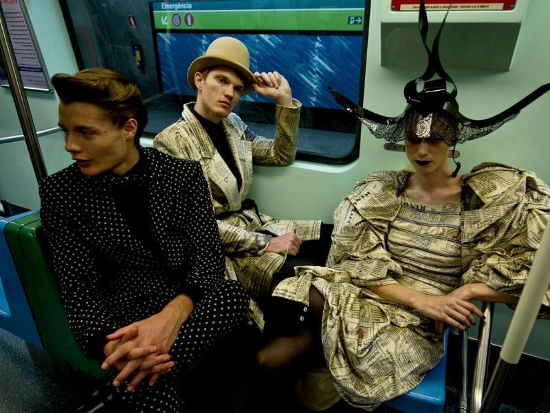Models are seen in Sao Paulo's subway on the eve of the 2013 Winter Sao Paulo Fashion Week. (AFP Photo)