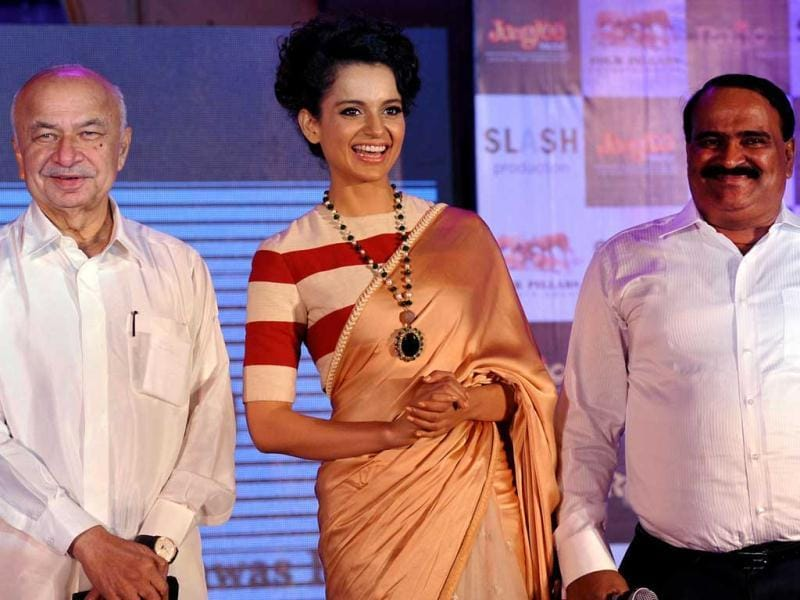 Kangana Ranaut, Sushil Kumar Shinde share a light moment during the music launch of Rajjo.