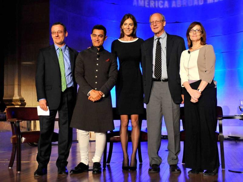 (L/R) Aaron Lobel, Aamir Kahn, Kathryn Bigelow, Peter Ackerman and Ann Hornaday pose with the awardees at the 2013 America Abroad Media Awards Dinner at Andrew W. Mellon Auditorium on October 28, 2013 in Washington, DC.