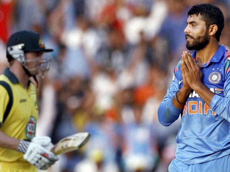 India's Ravindra Jadeja celebrates the wicket of Australian batsman George Bailey during their 6th ODI cricket match in Nagpur. (PTI Photo)