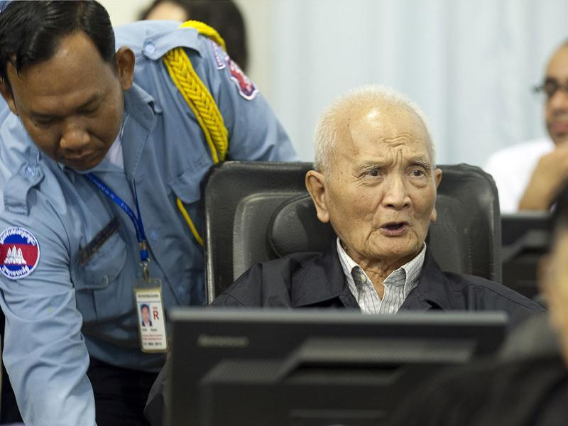 Former Khmer Rouge leader ''Brother Number Two'' Nuon Chea (C) is seen at the Extraordinary Chambers in the Courts of Cambodia (ECCC), in the outskirts of Phnom Penh in this handout picture. Khmer Rouge war crimes tribunal is hearing closing arguments in the court's biggest case - known as Case 002 - after lengthy hearings into one of the darkest chapters of the 20th century. REUTERS