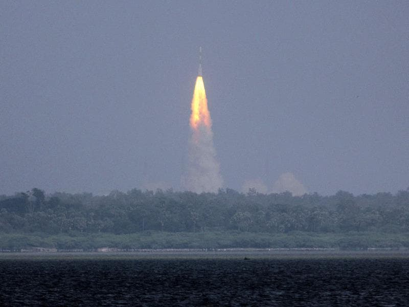 The Polar Satellite Launch Vehicle (PSLV-C25) rocket lifts off carrying India's Mars spacecraft from the east-coast island of Sriharikota (AP Photo)