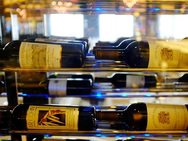 Bottles of California wine are displayed inside the 630 Park Steakhouse at the Graton Resort and Casino in Rohnert Park, California. (AP Photo)