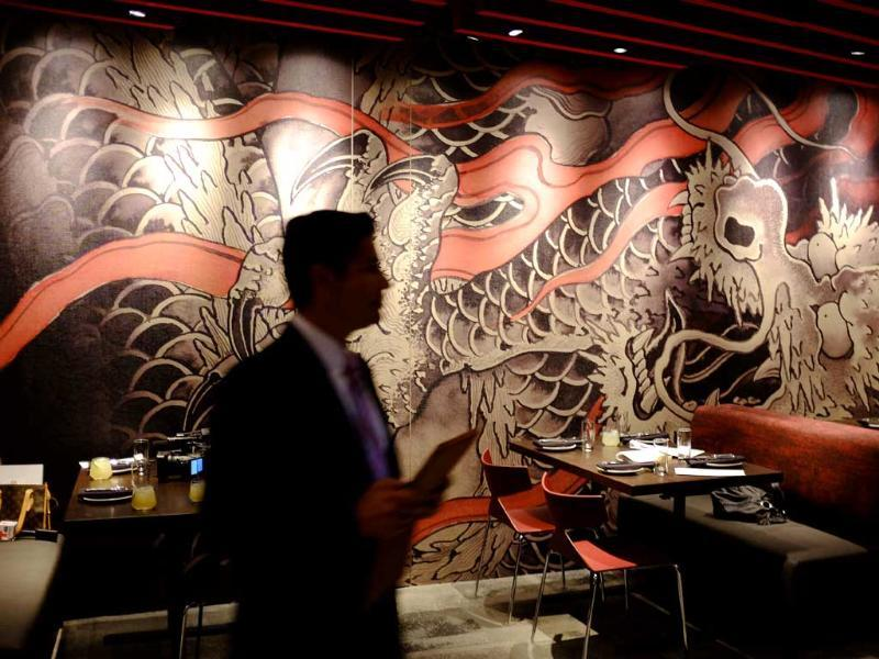A mural created by a tattoo artist is shown on a wall of the MY China restaurant at the Graton Resort and Casino in Rohnert Park, California. (AP Photo)