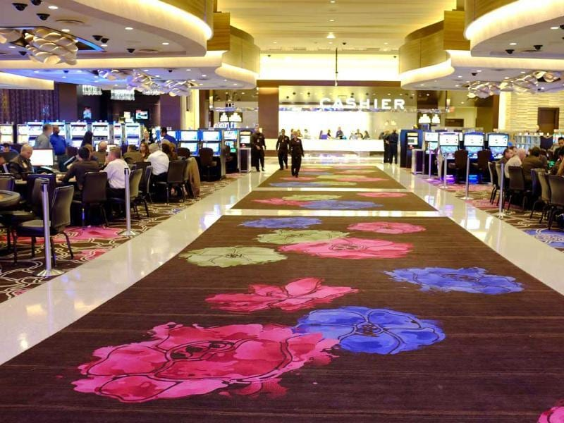 Patterns inspired by Sonoma County flowers are shown on a custom-woven carpet inside the Graton Resort and Casino in Rohnert Park, California. (AP Photo)