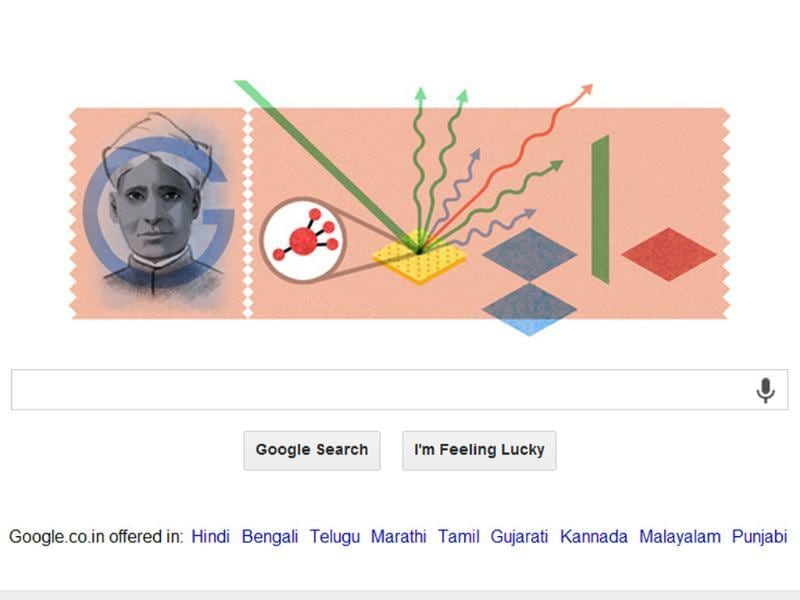 Google honours Sir CV Raman, the Nobel laureate physicist in its doodle feature with his discovery, the Raman Effect, on his 125th birth anniversary birthday. (Photo credit: Google)