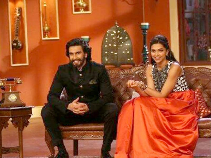 While Deepika looked stunning in black and orange, Ranveer sported a bandhgala with élan.