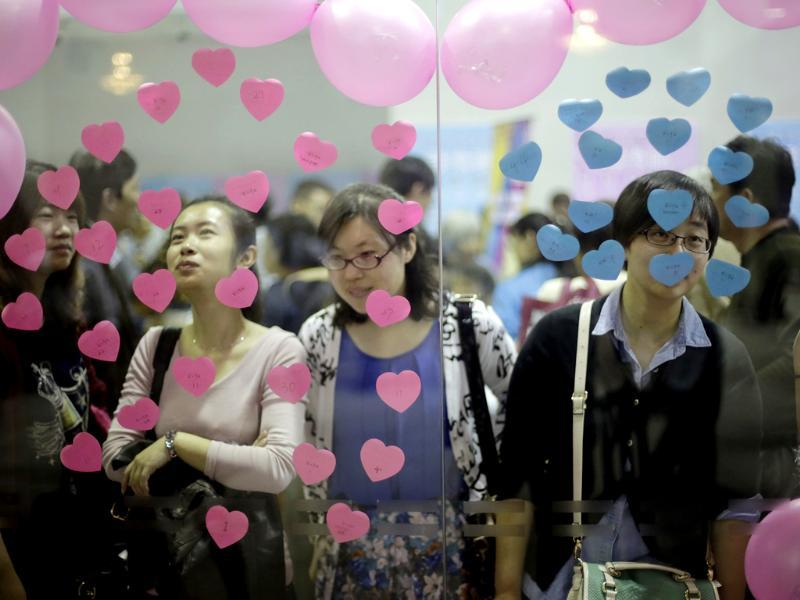 Participants take part in a bachelor's meeting event on during a mass match-making event ahead of Singles Day in Shanghai, China. (AP Photo)
