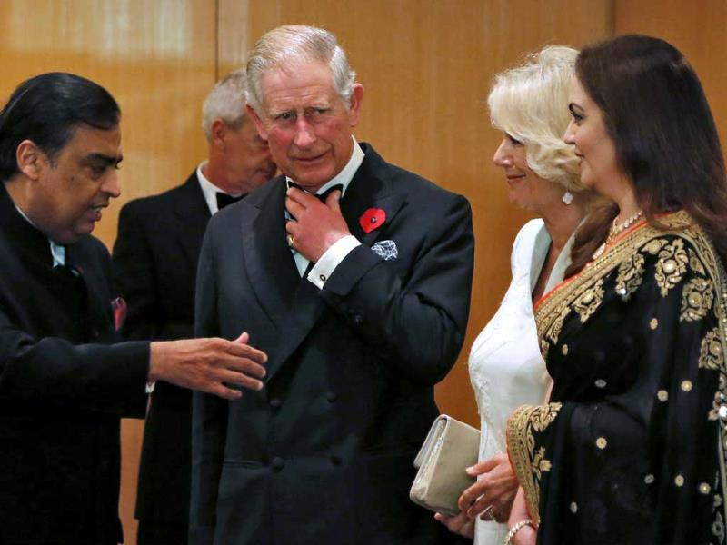 Prince Charles in conversation with Mukesh Ambani. (Reuters Photo)