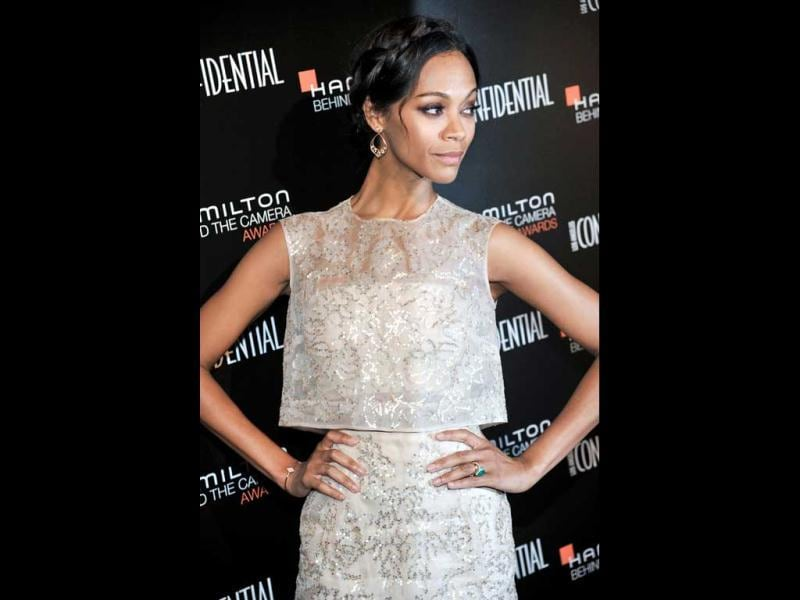 Zoe Saldana arrives at the 7th Annual Hamilton Behind the Camera Awards at The Ebell Theatre in Los Angeles. (AP photo)