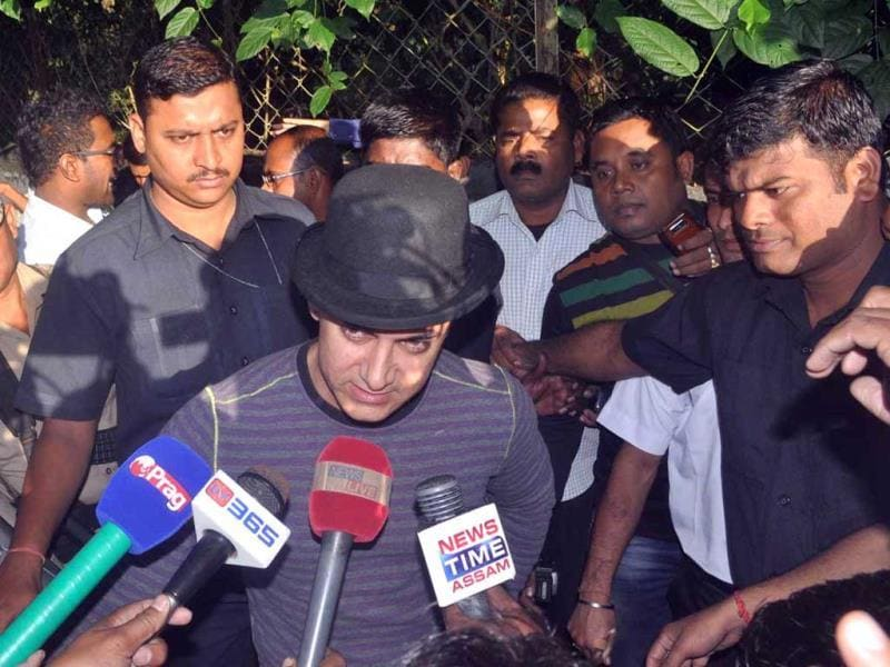 Aamir Khan caught by the media in Assam; seen adressing here