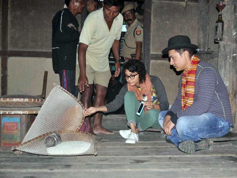 Aamir Khan and Kiran Rao spend some quality time, sitting on a bamboo house-on-stilts in a village in Assam, where they went to celebrate Kiran's 40th birthday.
